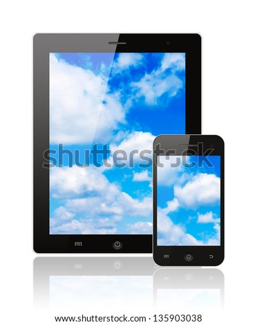 Woman hand uses touch screen interface with food on white background