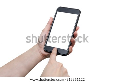 woman hand using the smartphone with blank screen #312861122