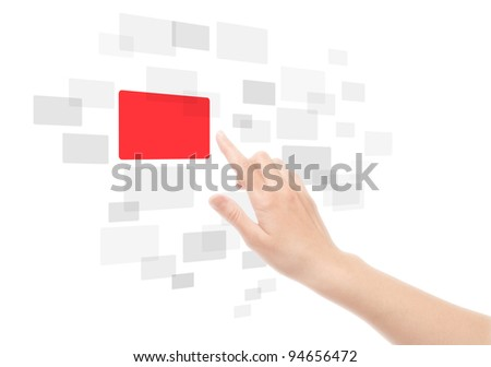 Woman hand using touch screen interface. Isolated on white.