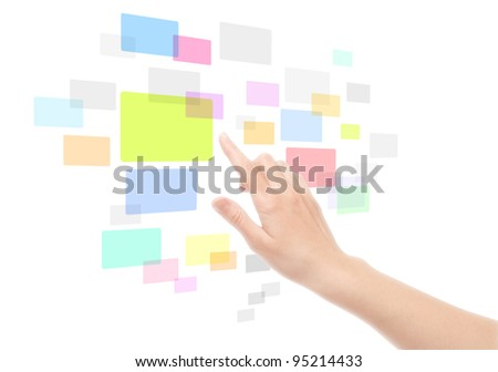 Woman hand using touch screen interface with colored empty frames. Isolated on white.