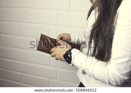 woman hand wallet #508846012