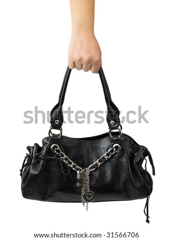 Woman hand with bag isolated on white background