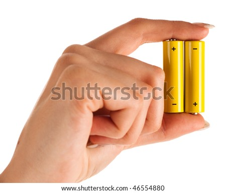 woman hand with battery on white isolated