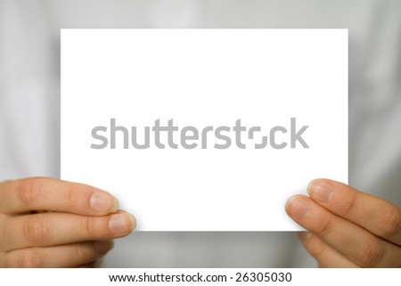 woman hand with blank white business card
