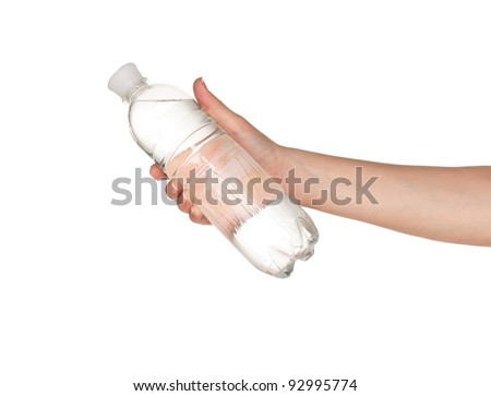Woman hand with bottle of water isolated on white background