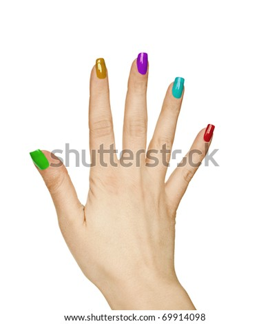 Woman hand with colorful manicure