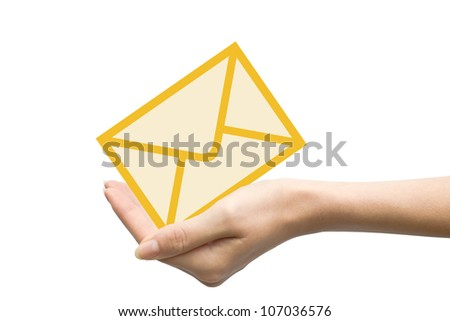 woman hand with email isolated on white background
