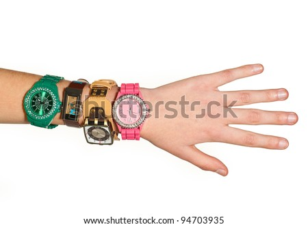 woman hand with fashionable watches