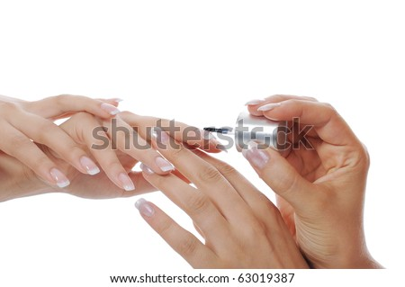 Woman hand with French manicure. Isolated on white background - stock photo