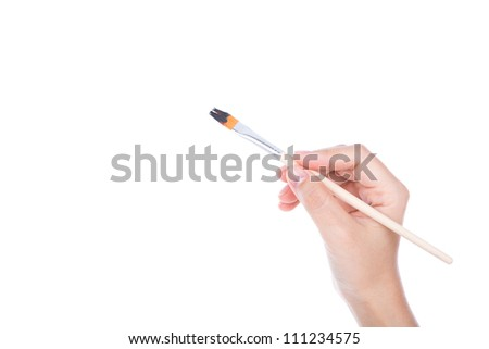 Woman hand with paintbrush isolated on white background
