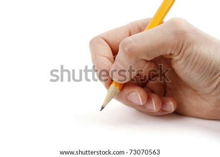 Woman hand with pen and blank page