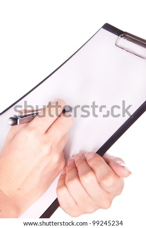 Woman hand with pen and paper