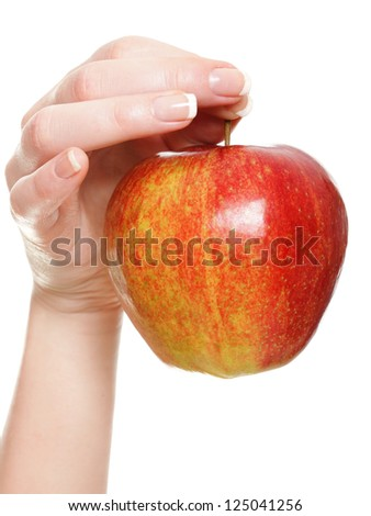Woman hand with red apple isolated on white background