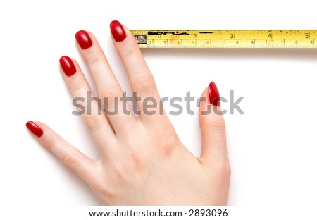 Woman hand with ruler. Isolated on white with shadows.