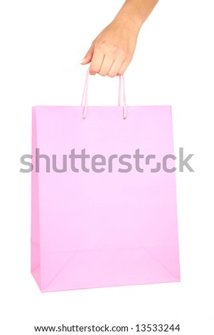 Woman hand with Shopping bag isolated on white background