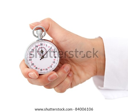 Woman hand with stopwatch isolated on white