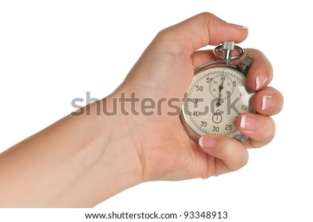 Woman hand with stopwatch isolated on white background