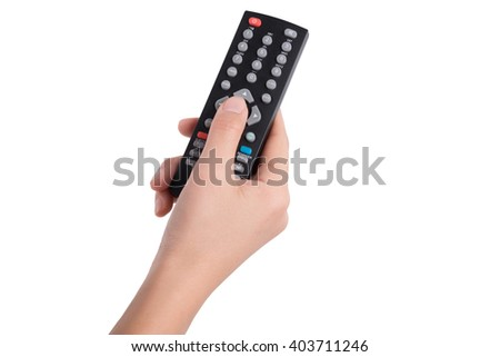 woman hand with television remote control isolated on white background