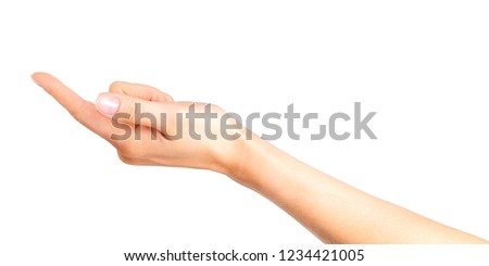 Woman hand with the index finger pointing on side. Isolated with clipping path.