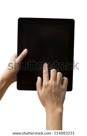 Woman hand with touch screen device on white background