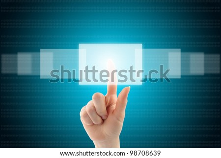 Woman hand with touch screen interface