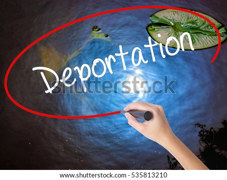 Shutterstock Woman Hand Writing Deportation  with marker over transparent board. Isolated on nature. Business concept. Stock Photo