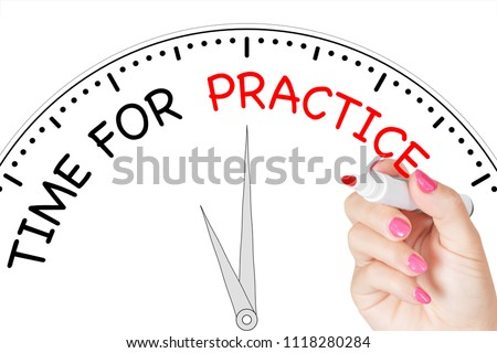 Woman Hand Writing Time for Practice Message with Red Marker on Transparent Wipe Board on a white background. 3d Rendering