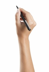 Woman hand writing with a pen, background white, isolated