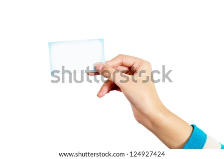 Woman handed blank business card in hand.