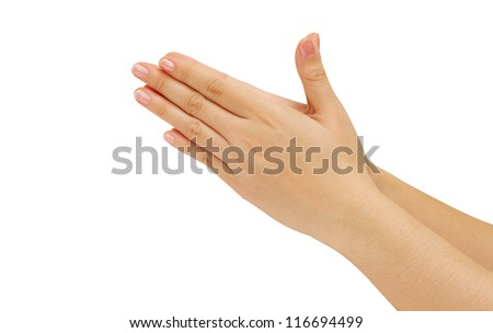 woman hands  hold hands together is symbol prayer and gratitude ,Hello and thank in Thai position