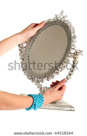 Woman Hands Holding A Mirror Stock Photo 64558264