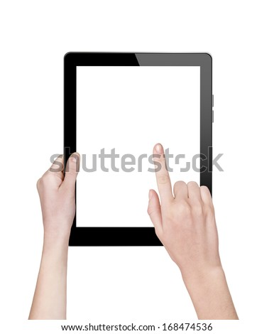 woman hands holding a tablet isolated on white #168474536