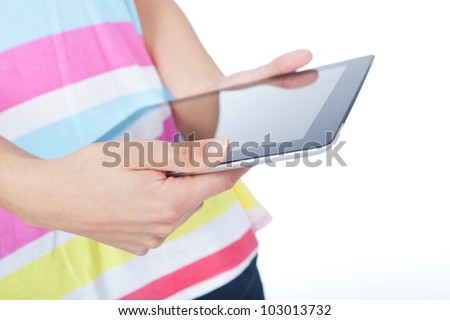 woman hands holding and point on modern electronic digital frame