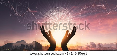 Woman hands holding global network connections and  technology innovative in science and Vr communication concept.Elements of this image furnished by NASA