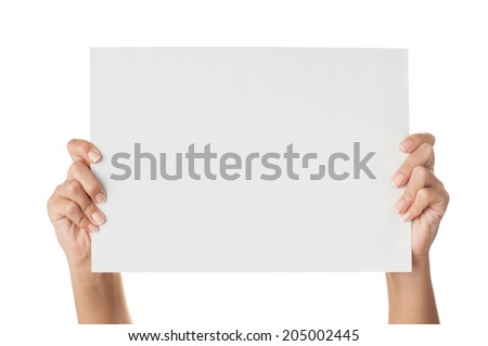 Woman hands holding paper isolated on white. #205002445
