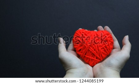 Woman hands holding red wool heart, health insurance, donation concept, love concept, giving concept, hope concept #1244085199