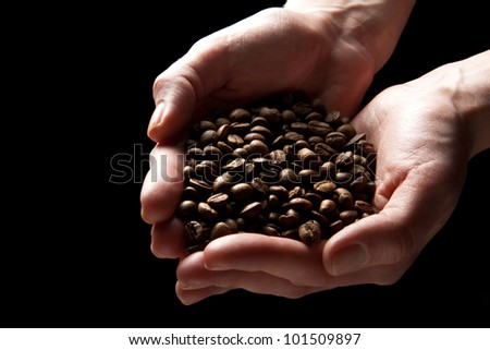 Woman hands holding roasted coffee beans (focus on beans)