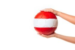 Woman hands holding soccer ball. isolated on white