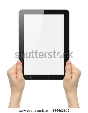 Woman hands holding tablet PC on white background