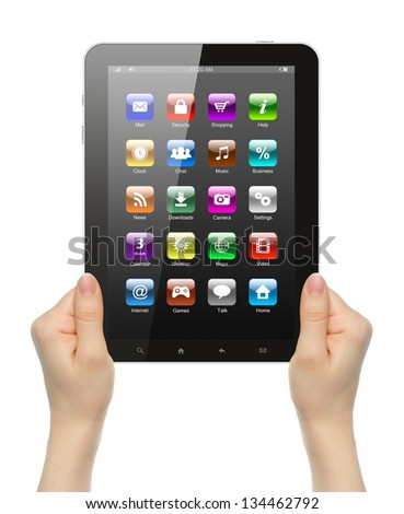 Woman hands holding tablet PC with icons on white background
