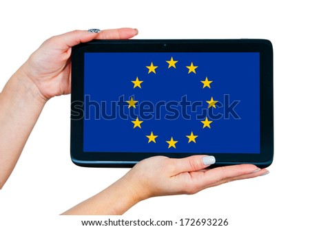 woman hands holding tablet with european union flag on the screen #172693226