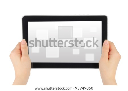 Woman hands holding touch screen device with virtual background