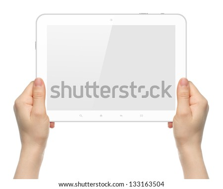 Woman hands holding white tablet PC on white background