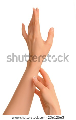 Woman hands on a white background