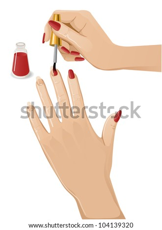 Woman hands putting a varnish on nails