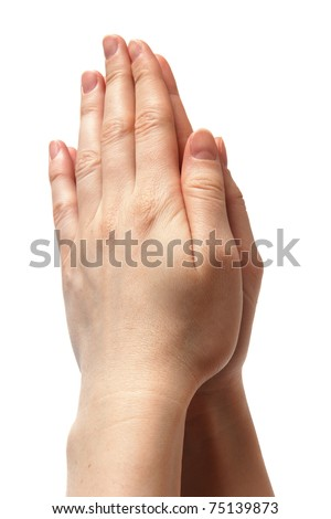 woman hands together symbolizing prayer and gratitude. isolated on white background