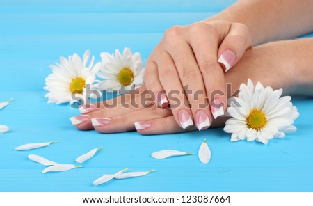 Woman hands with french manicure and flowers on blue wooden background - stock photo