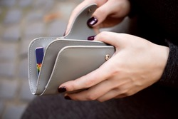 Woman hands with grey wallet purse money credit cards
