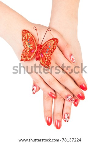 Woman hands with manicure isolated over white