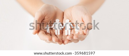 woman hands with paper man family #359681597